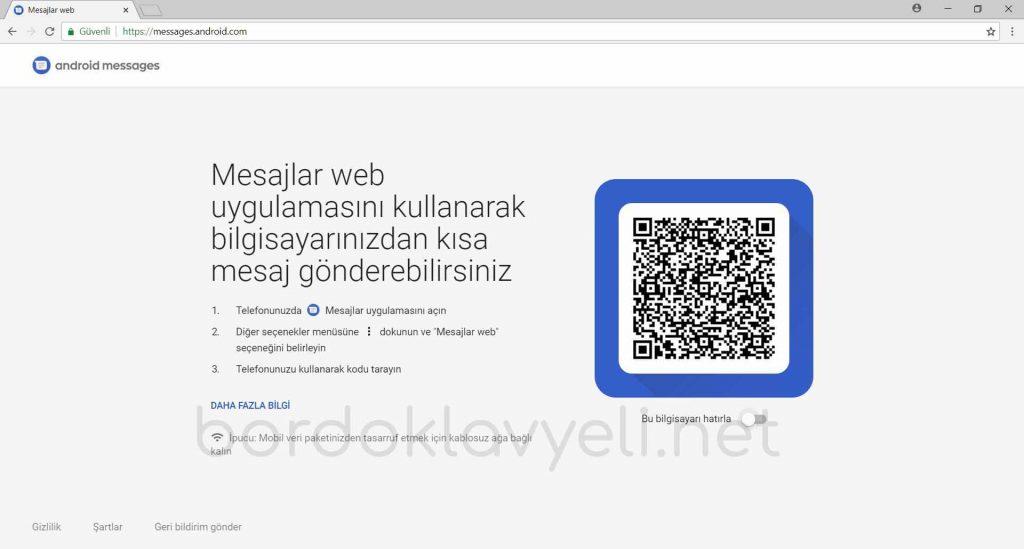 Android Messages Web Görüntüsü