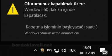 bilgisayarı zamanlı kapatma