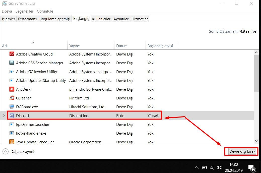 windows 10 başlangıç programları kaldırma