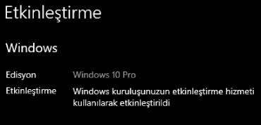 windows 10 etkinleştirme kodları