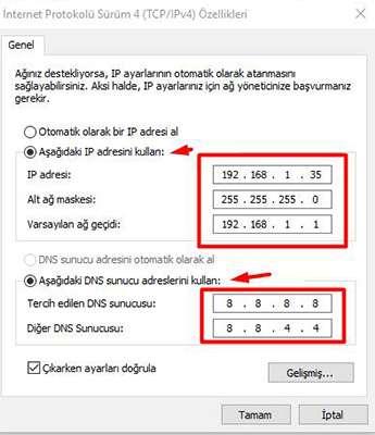 internet ip adresi değiştirme