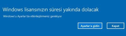 windows lisansınızın süresi yakında dolacak bildirimi kapatma