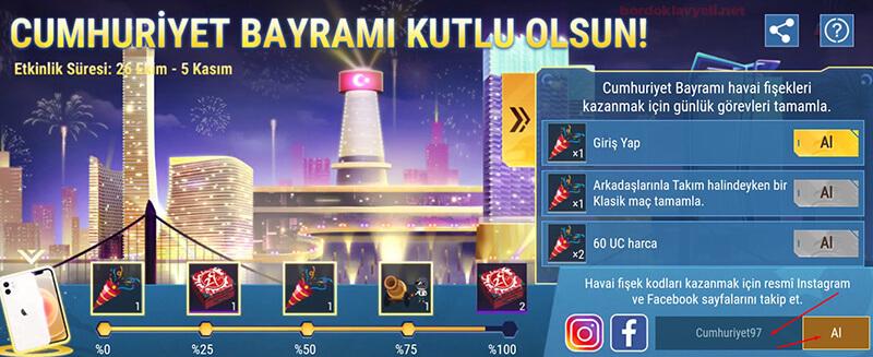 pubg mobile cumhuriyet bayramı kodları